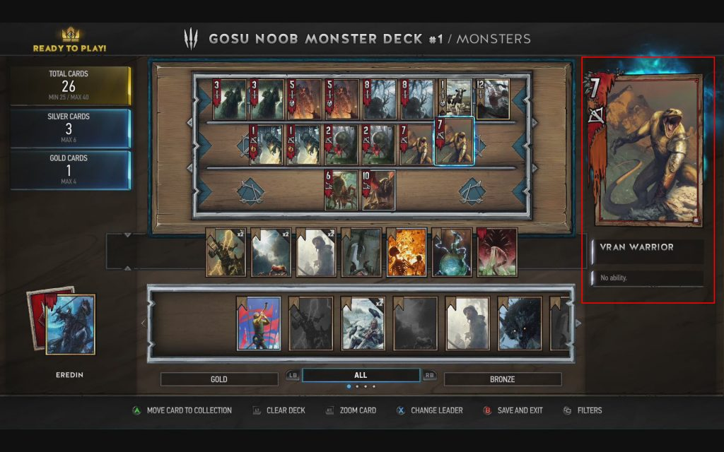 Gwent Deck Building Interface