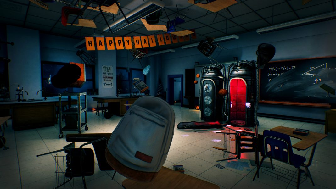 Screenshot from Hide and Shriek. Spooky backpacks and floating objects are seen in a dark classroom.