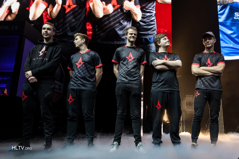 Astralis on stage at ECS S2 Finals