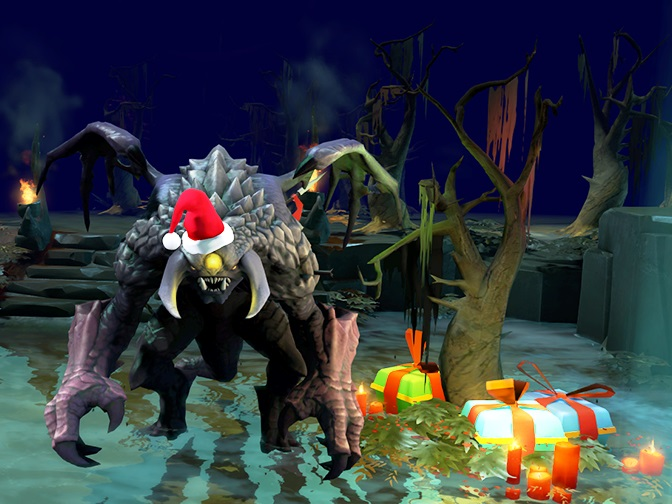 Roshan in Santa hat and with tree