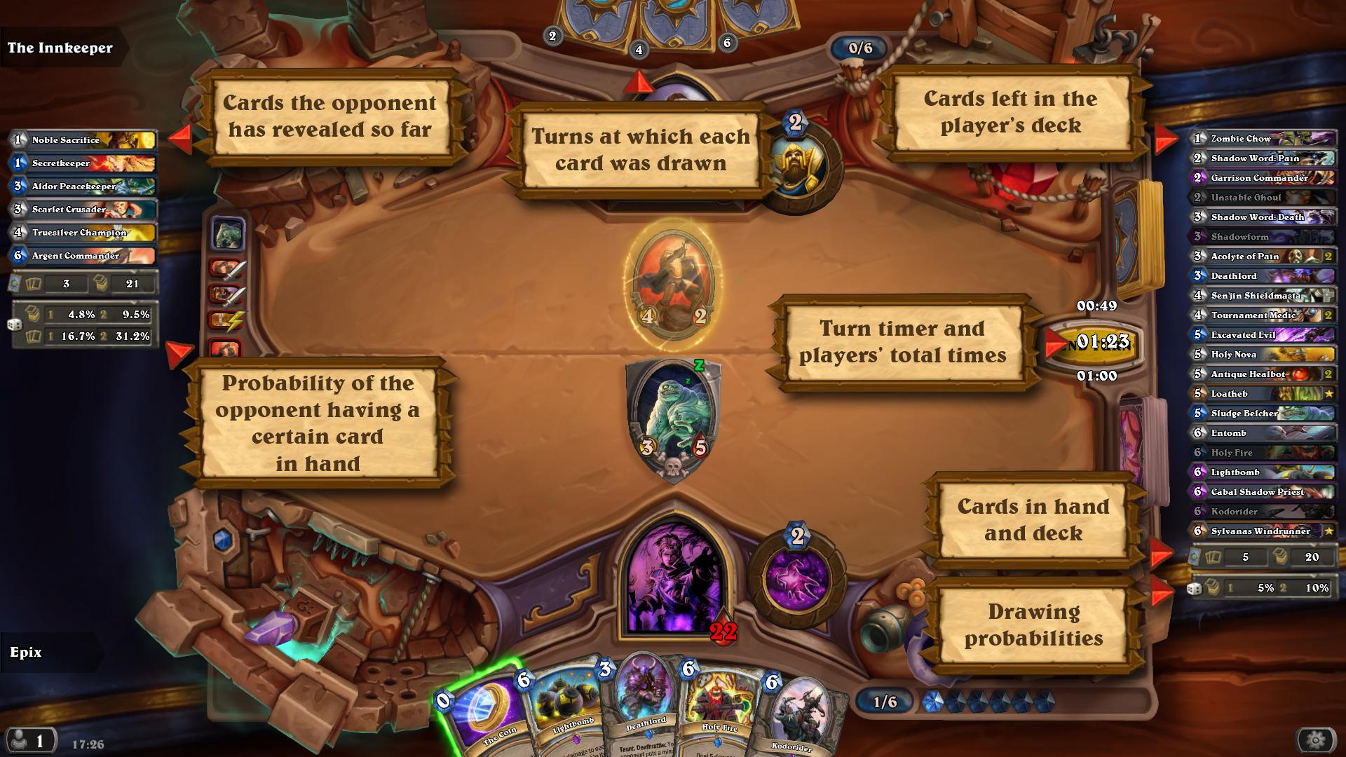 Hearthstone deck tracker, showing how to calculate cards and drawing probabilities.