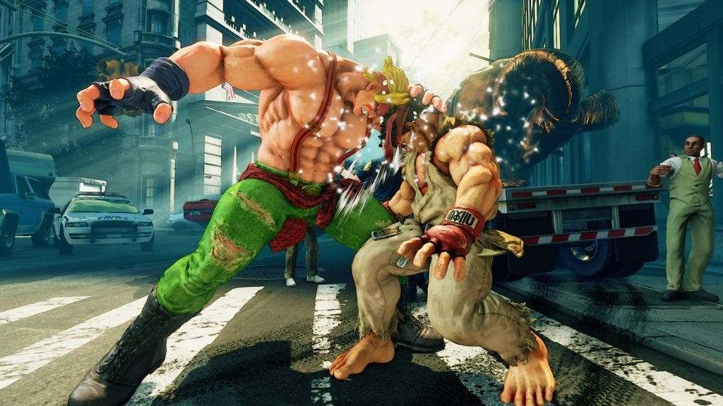 Street Fighter V Alex head butting Ryu