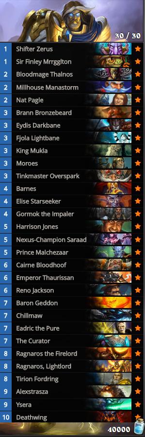 Thirty Legendary deck