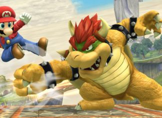 sm4sh mario fighting bowser