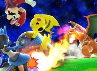 Pikachu, lucario, and mario dodge charizard flames