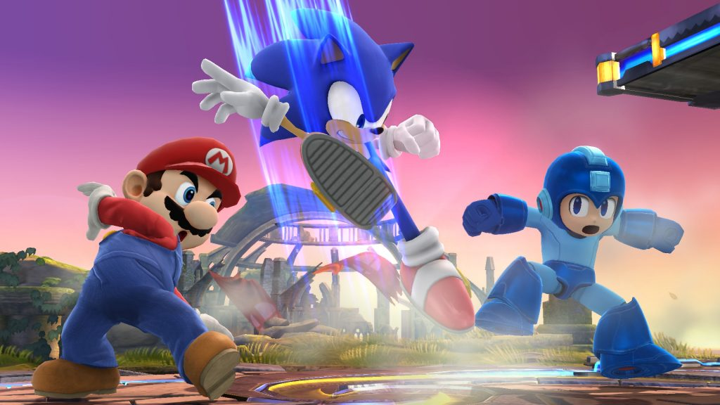 Sonic, megaman, and mario in super smash bros