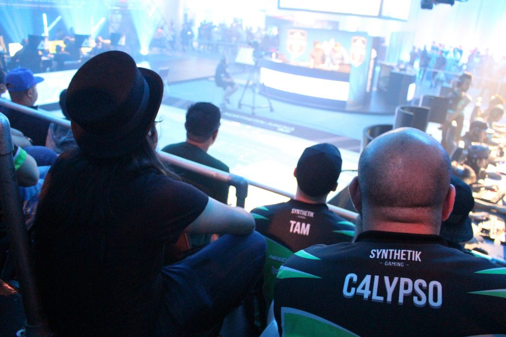 Herbert hanging with the friendly folks from Synthetik during Cloud9's first game of the tournament.
