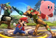 mario, link, samus, and kerby all fight in super smash bros