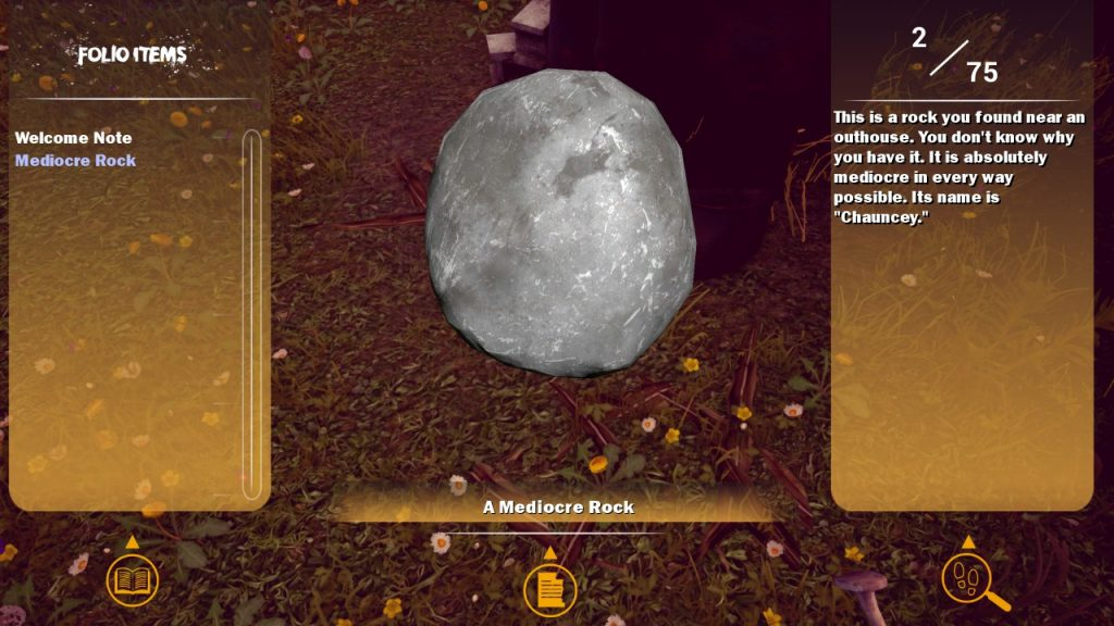 An image of the game's inventory menu, featuring a witty description of a rock.