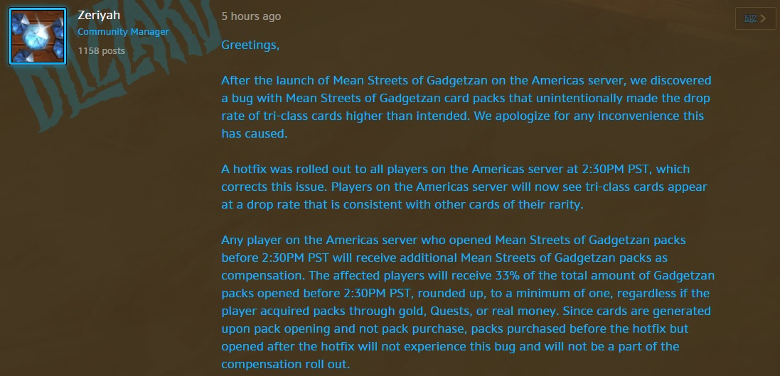 Screenshot of Blizzard forum post from Zeriyah, Community Manager, describing the issue with packs and the plans to compensate users.