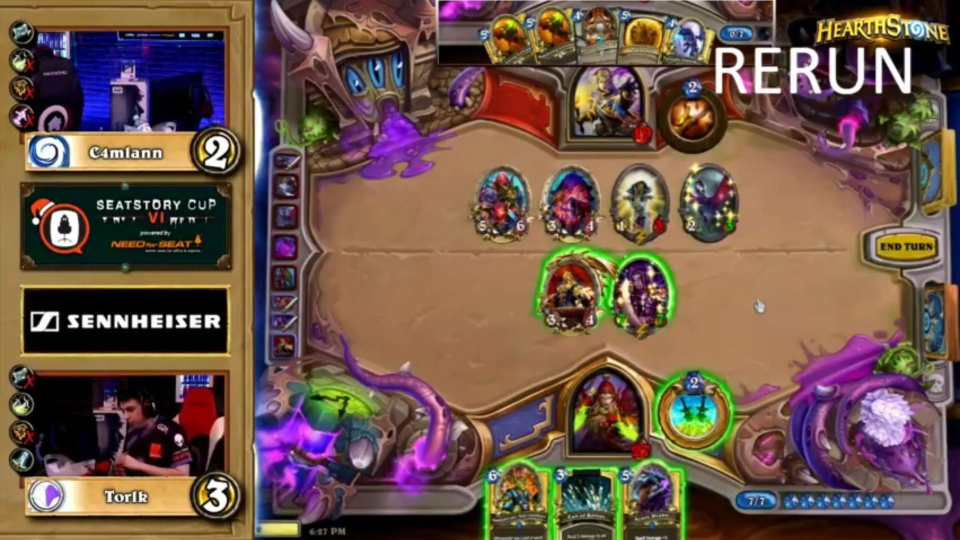 Example of a Hearthstone misplay at Seatstory Cup VI. This is a screenshot from a game between C4mlann and Torik.