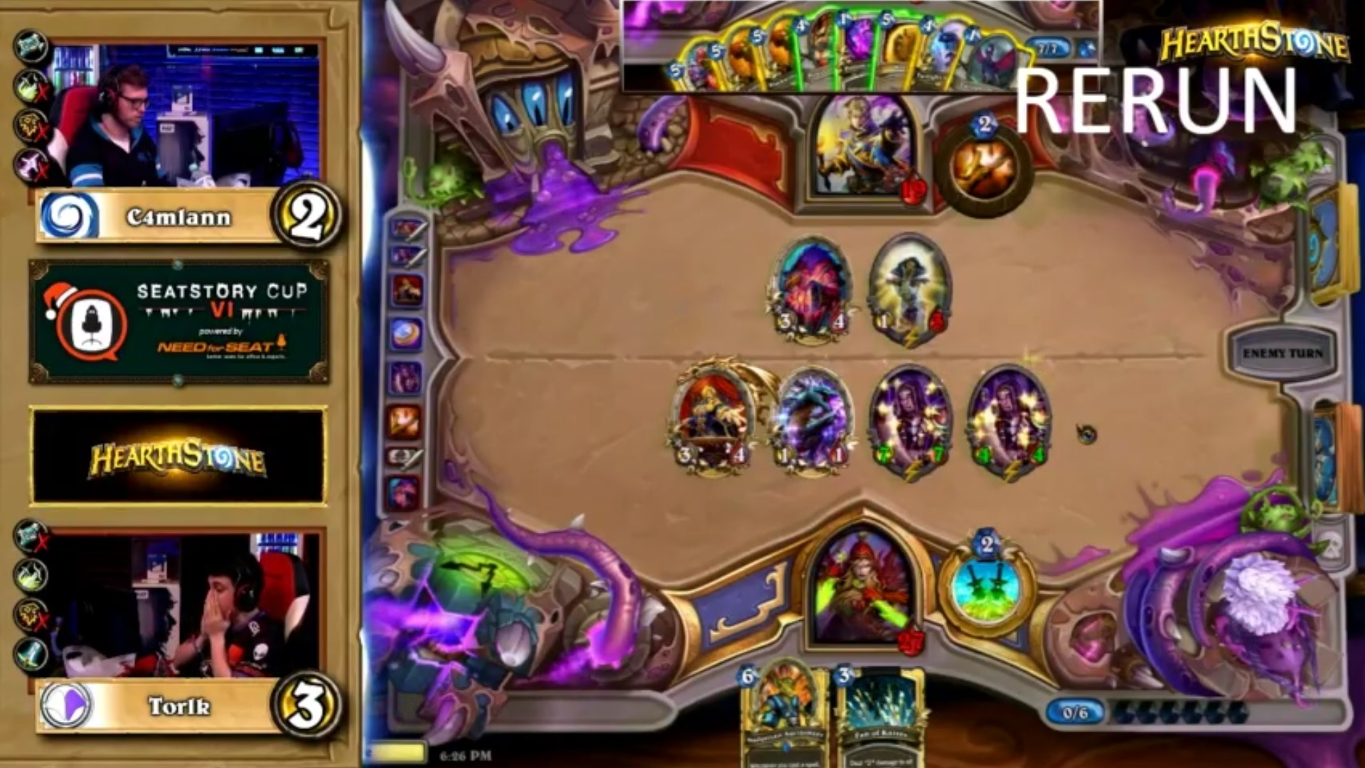 An example of a Hearthstone misplay at Seatstory Cup VI. This game is between C4mlann and Torik.