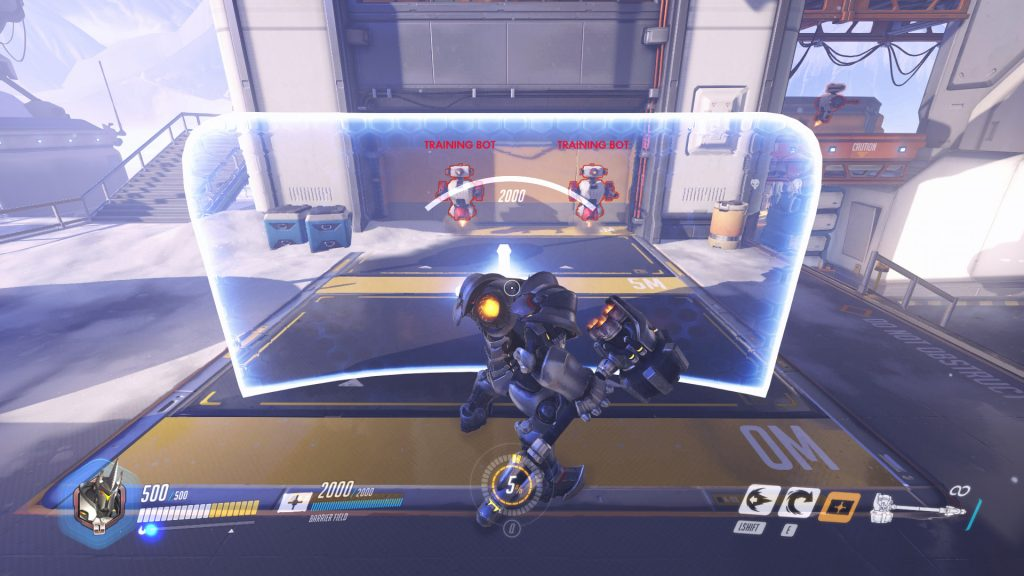 Reinhardt's shield is, as you can see in this image, absolutely massive.