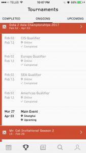 Strafe - Esports App Schedule Screen