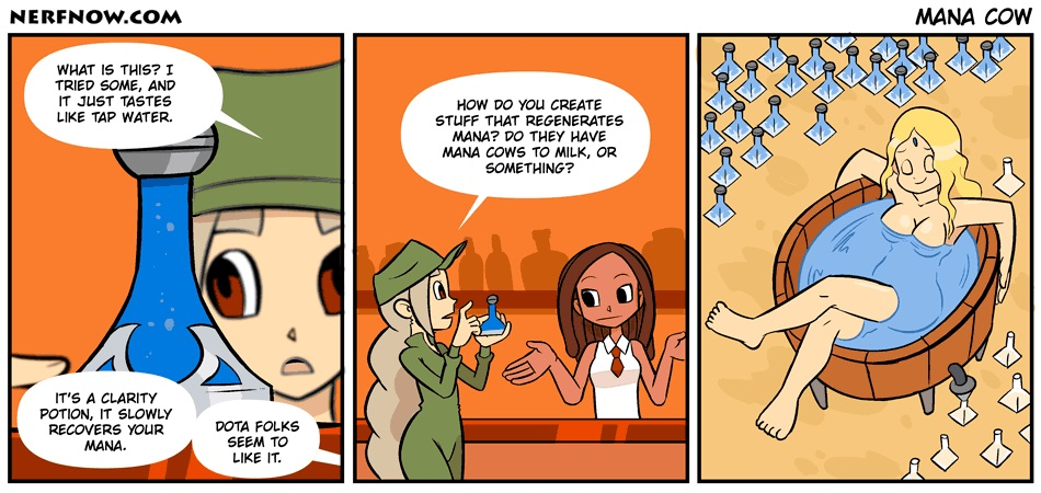 NerfNow is a webcomic about a wide range of games, including Dota 2 on occasion.