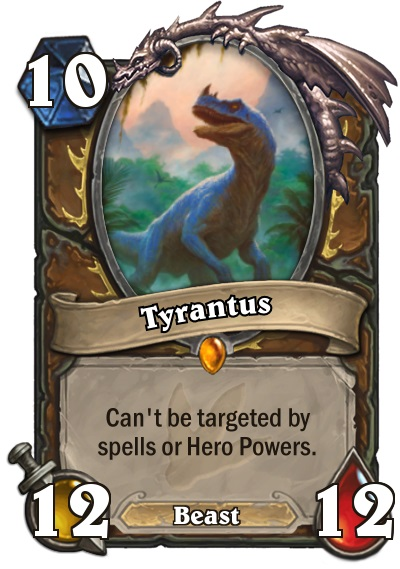 "Tyrantus is the new Druid legendary in Hearthstone's Journey to Un'Goro expansion. Tyrantus is a 12/12 Beast that costs ten mana to play. The card text reads: ""Can't be targeted by spells or Hero Powers."