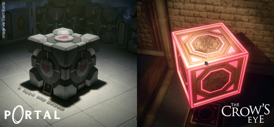 Companion cube and box comparison between The Crow's Eye and Portal.