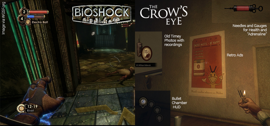Aesthetic similarities between The Crow's Eye and Bioshock.