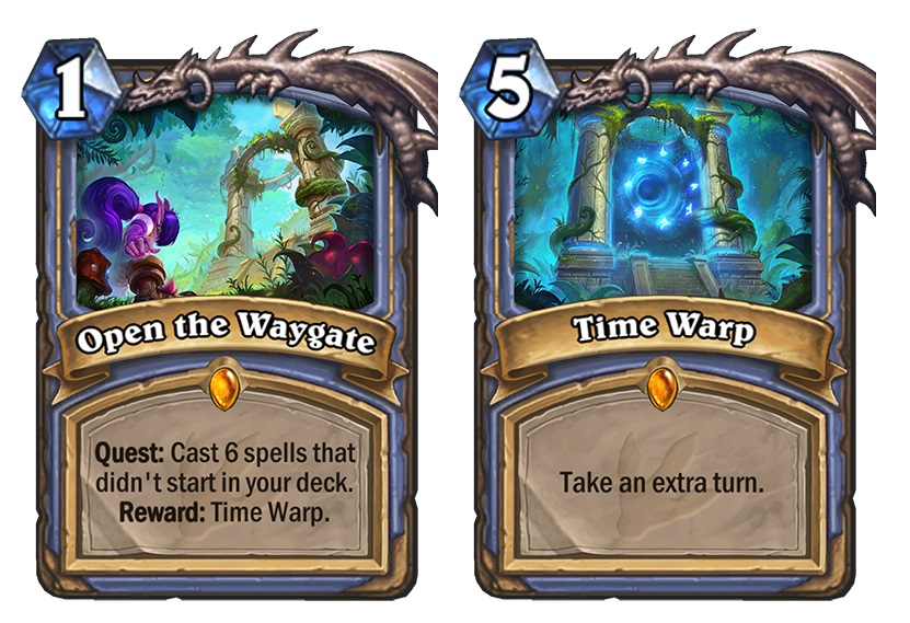 "Open the Waygate is the new Quest for Mage in Journey to Un'Goro. If you complete it, Time Warp is added to your hand. Time Warp is a five mana spell whose card text reads: ""Take an extra turn."""