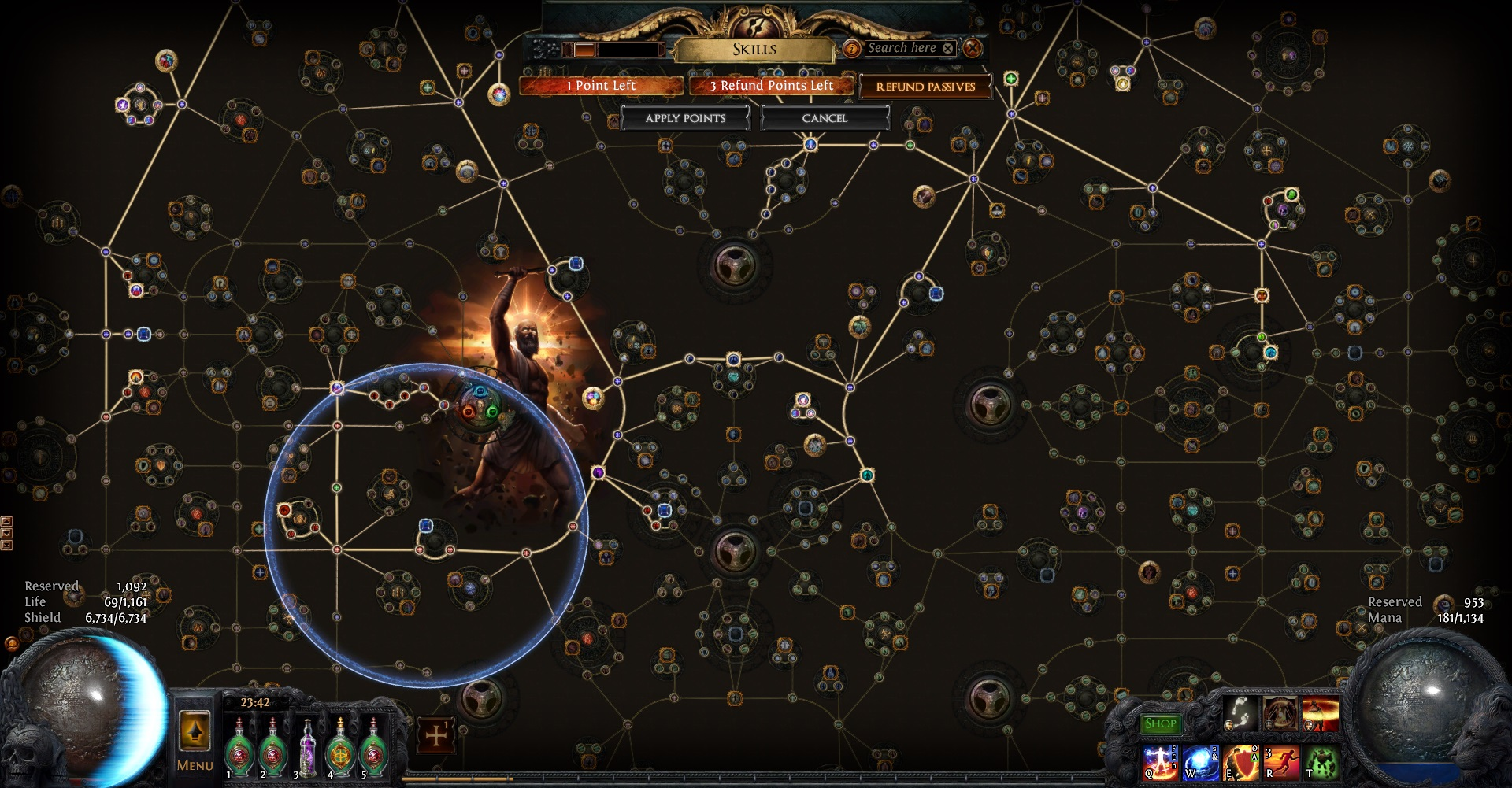 Example of a character build in Path of Exile's massive skill tree.