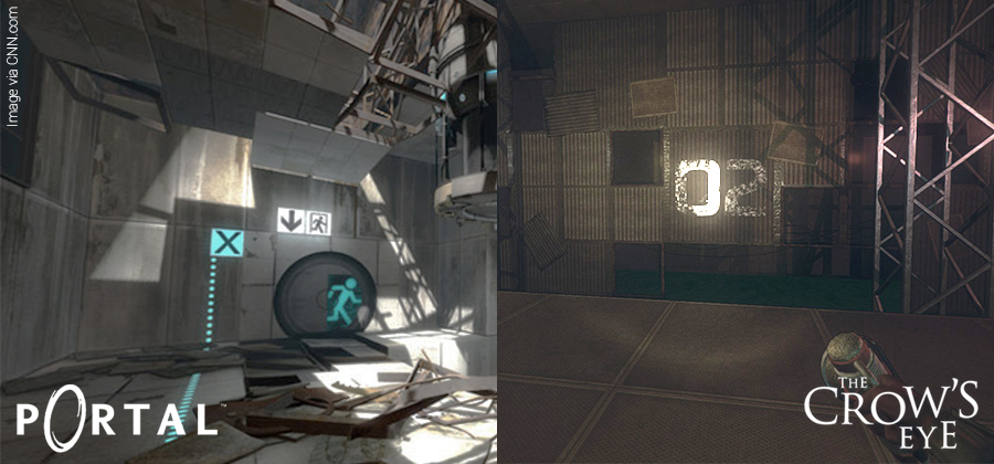 Environment similarities between The Crow's Eye and Portal.