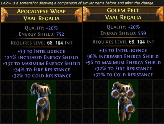Changes to Vaal Regalia before and after the energy shield update.