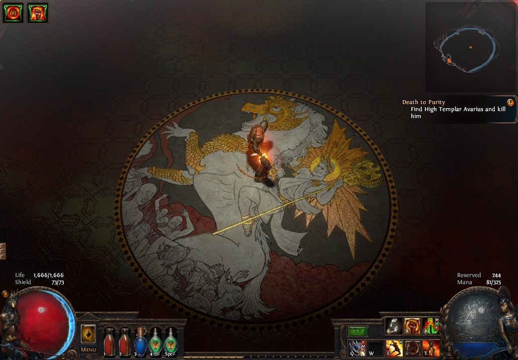 """One of the new Path of Exile maps included in the Fall of Oriath expansion. (""""Chamber of Innocence - 2"""")"""