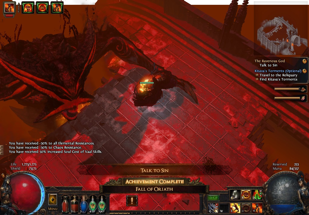 Defeating Kitava will grant you a permanent -30% to your Elemental Resistances.