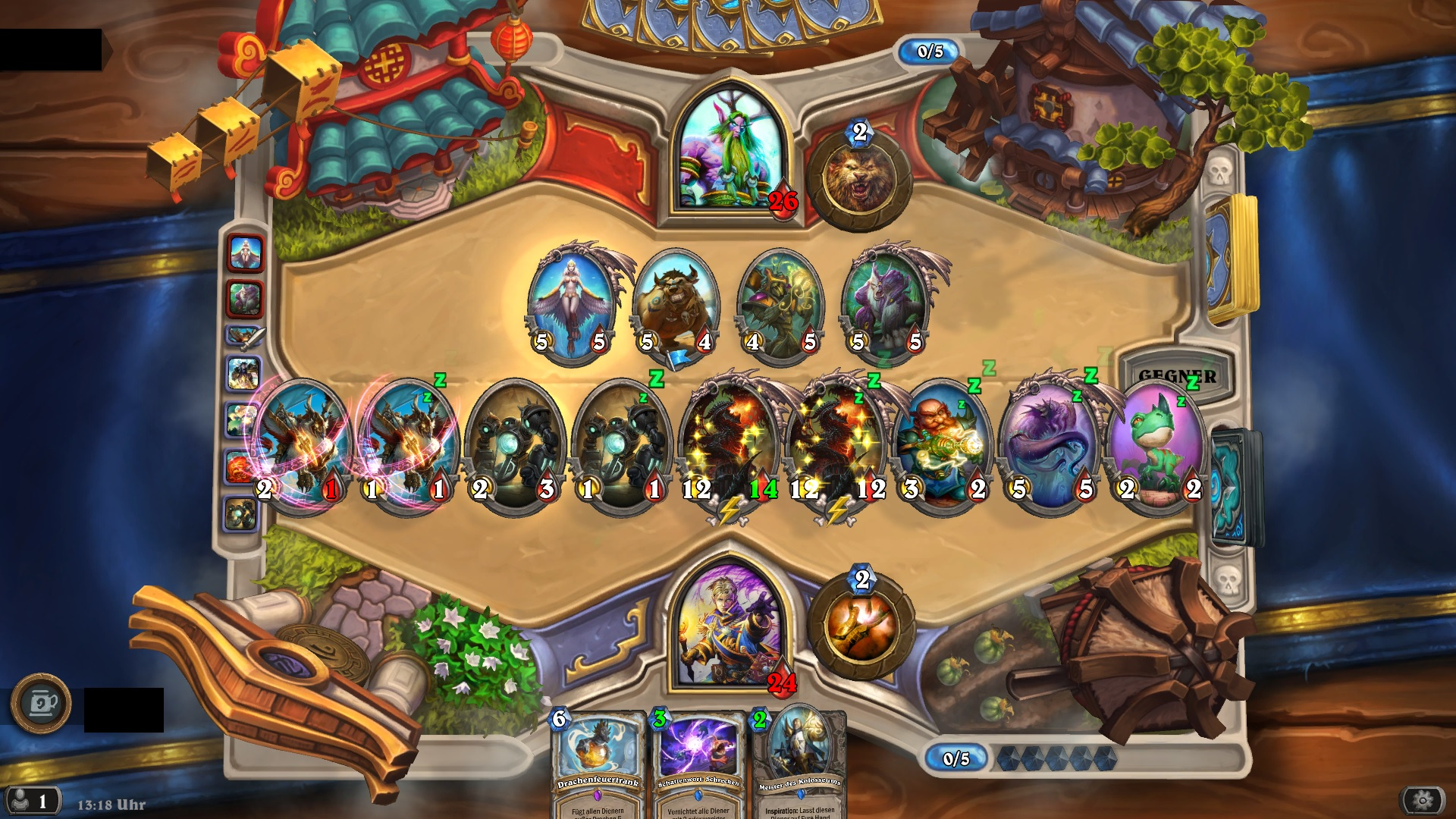 One of the many bugs in Hearthstone's client lets you have nine minions out on the board, but you can't attack with them.