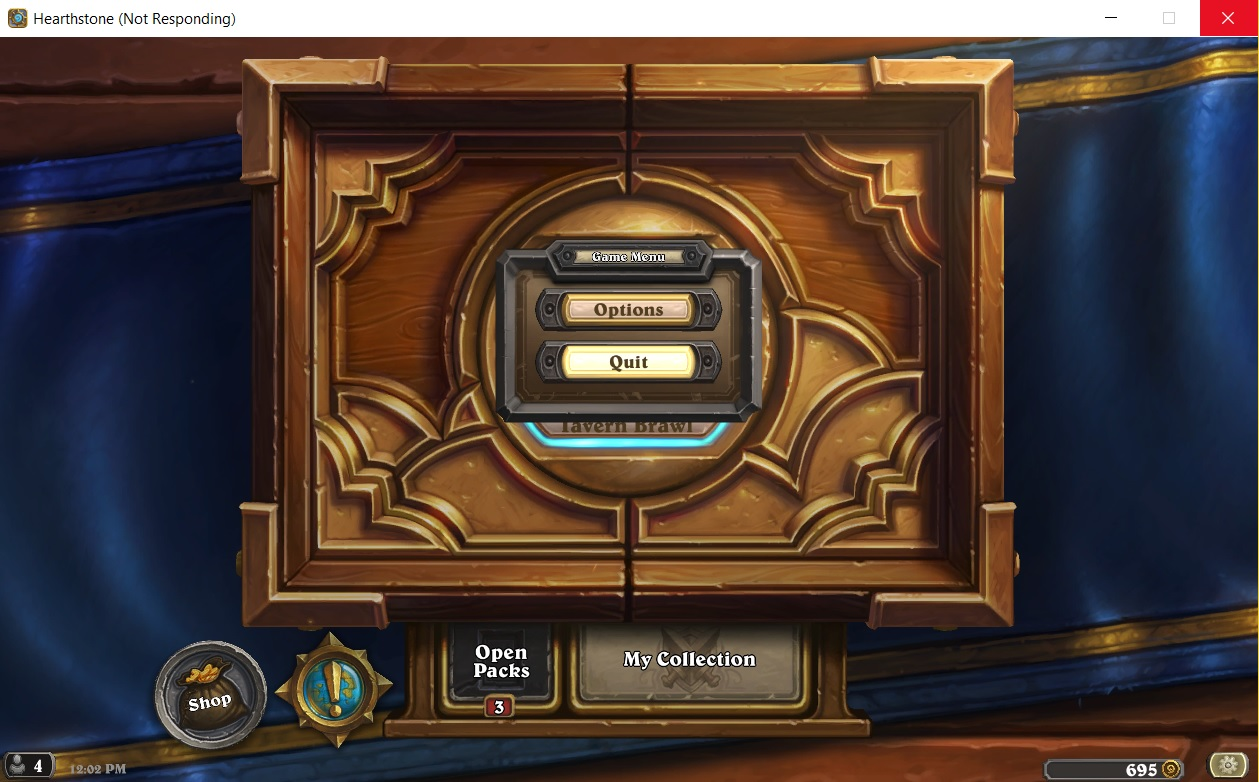 Hearthstone's client freezes every time you try to close it.