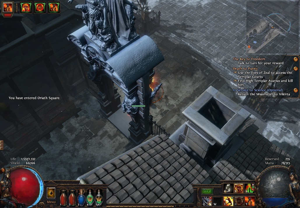 The snowy area in Path of Exile's Act Five reminds us of Act 3 in Diablo III.