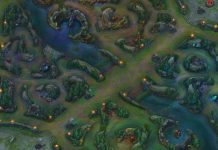 An overhead view of Summoner's Rift.