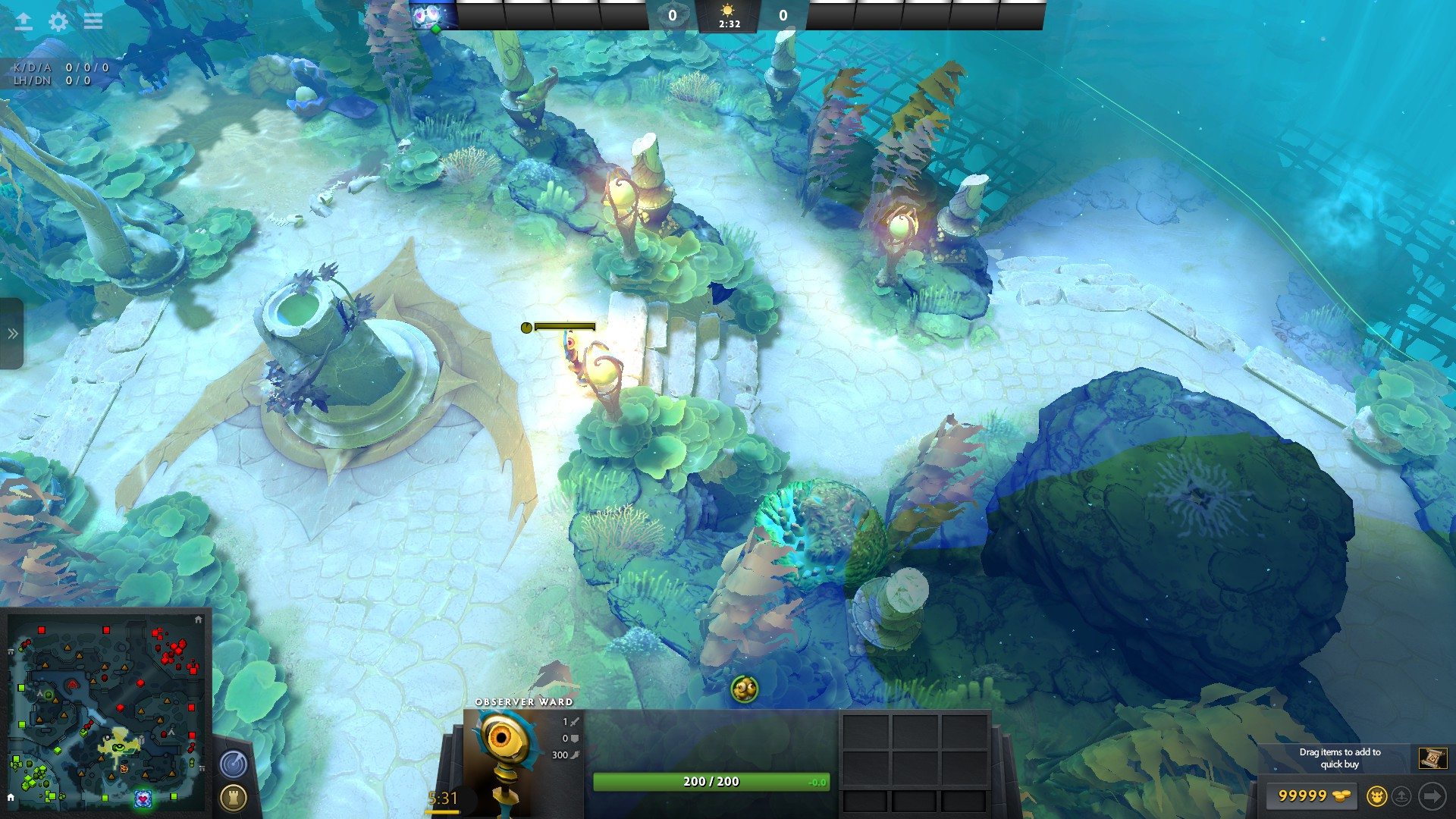 Example of a Shrine ward in Dota 2's 7.06 patch.