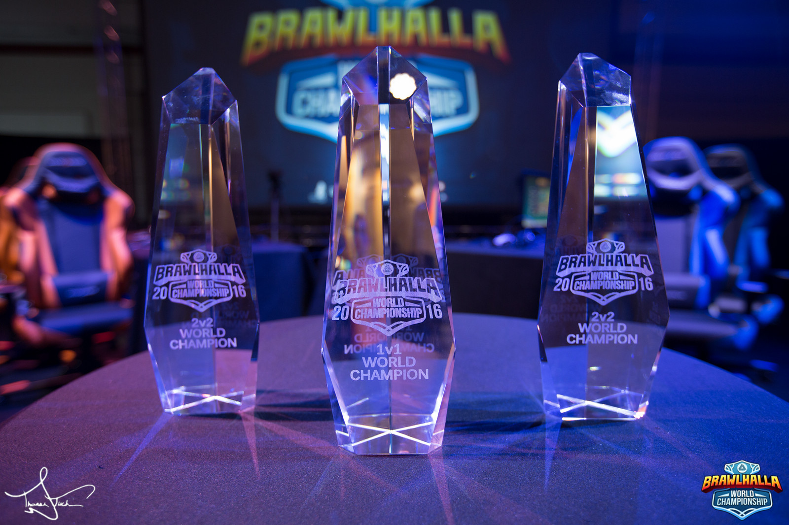 Trophies from the 2016 Brawlhalla World Championship.