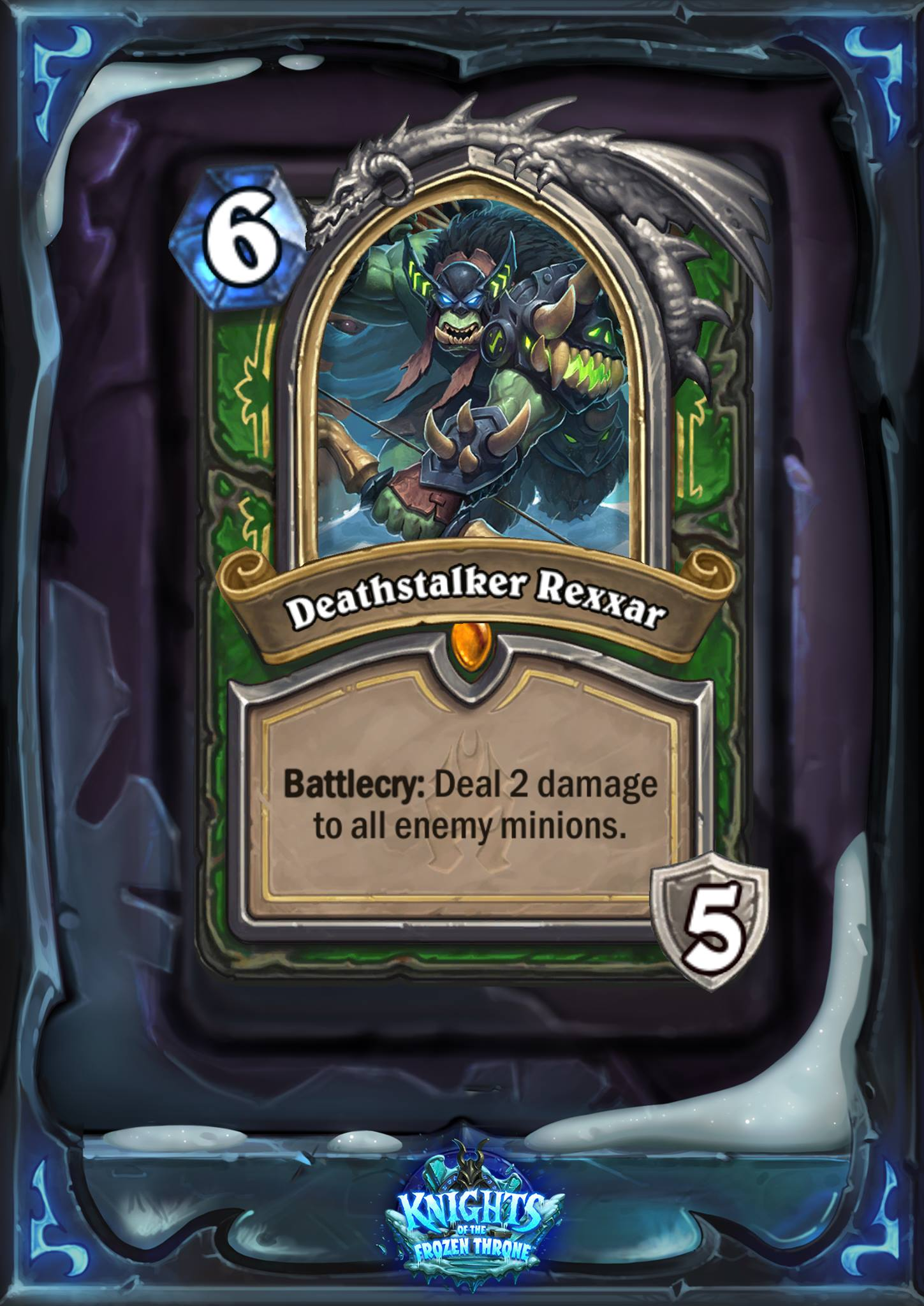 "Deathstalker Rexxar costs six mana, and the card text reads: ""Battlecry: Deal 2 damage to all enemy minions."""