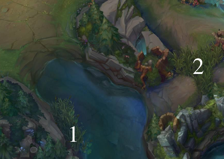 Top lane vision locations.