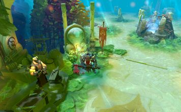 Screenshot of Axe standing in Radiant's fountain on the Reef's Edge terrain.