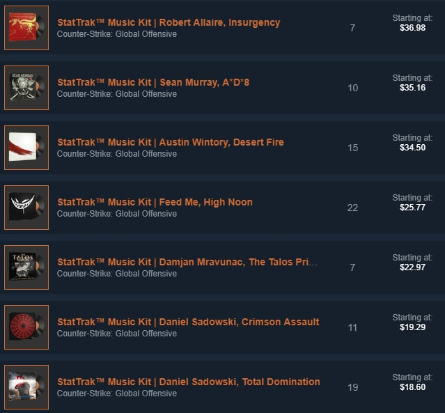 StatTrak Music Kits on the Steam Market