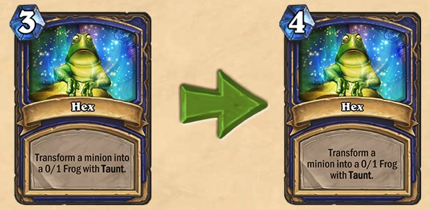 The Hex nerf increases the card's mana cost from 3 to 4.