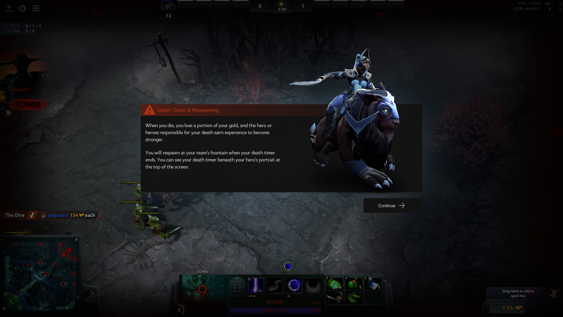 Screenshot of the text box that pops up after you die in the Dota tutorial that covers mechanics.