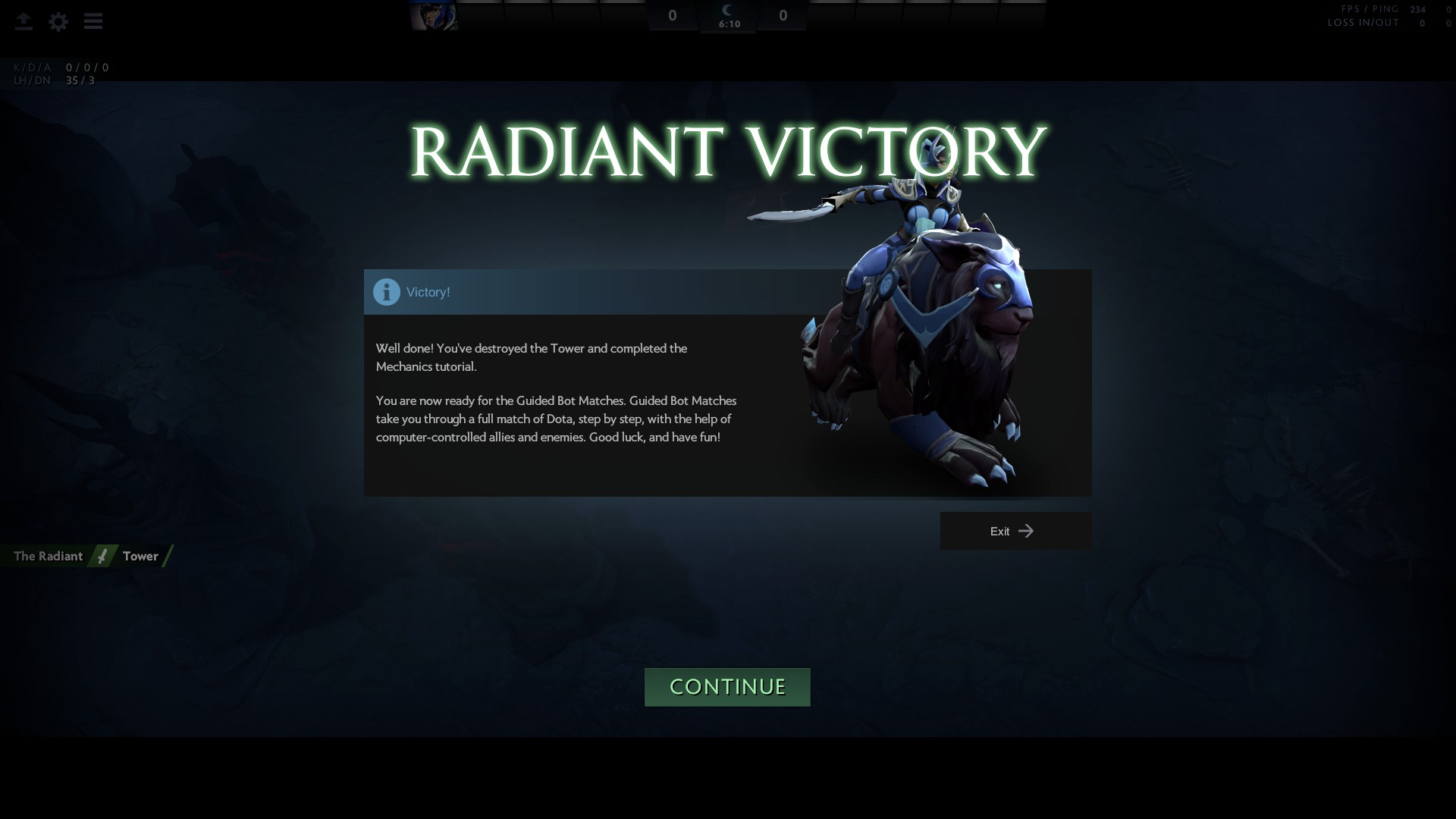 Screenshot of the splash screen that shows up when you complete the first Dota tutorial.