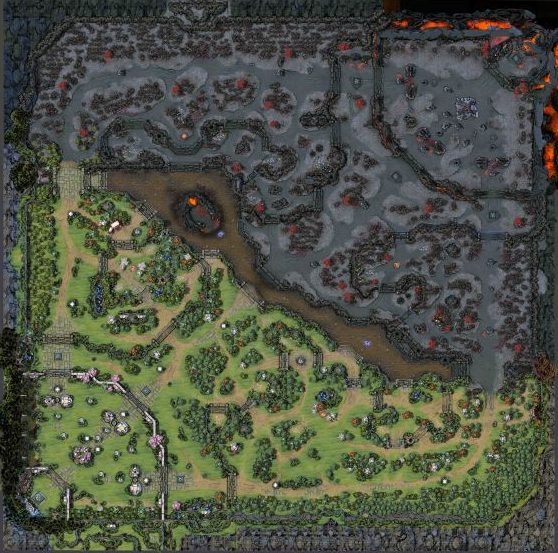 Overview of the Dota 2 map.