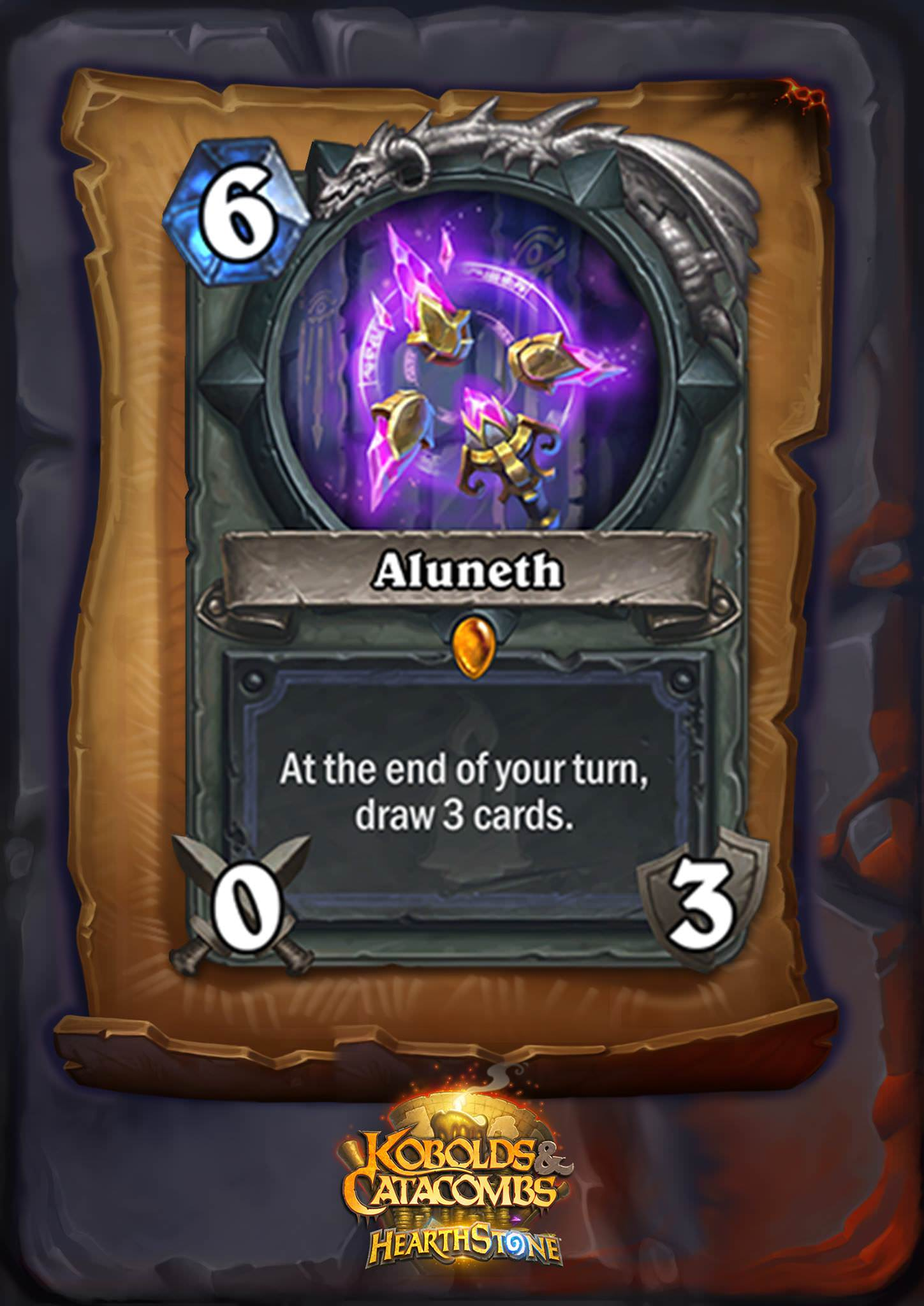 """Aluneth is a six mana 0/3 weapon. The card text reads: """"At the end of your turn, draw 3 cards."""""""