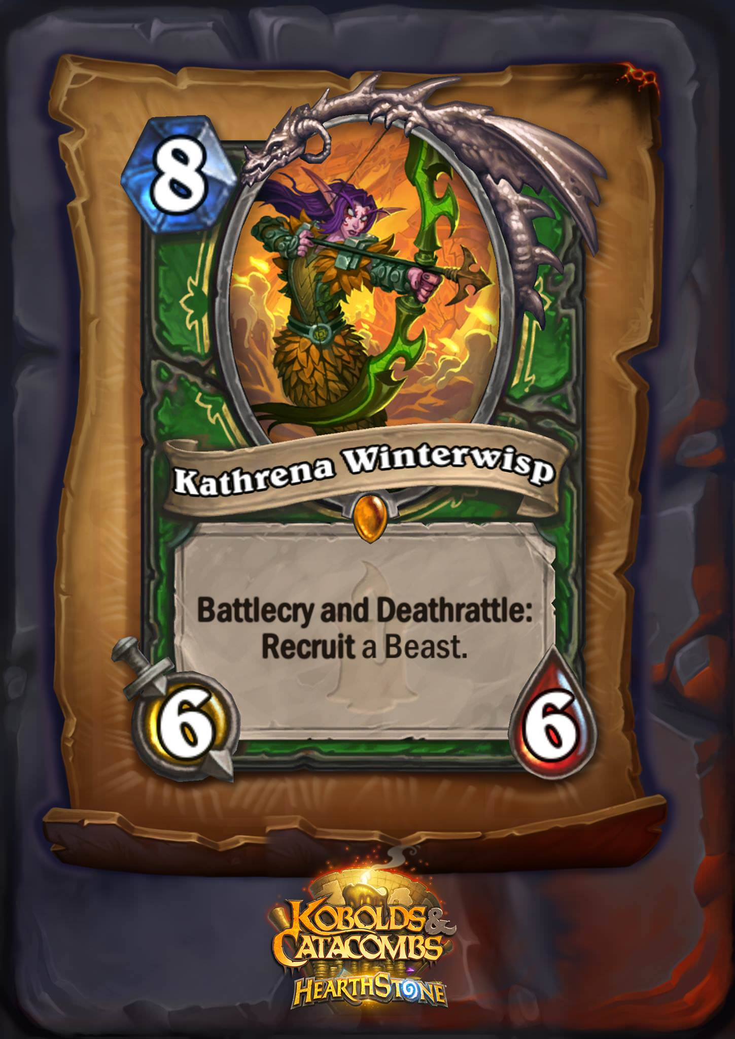 "Kathrena Winterwisp is an eight mana 6/6 Hunter legendary, and her card text reads: ""Battlecry and Deathrattle: Recruit a Beast."""