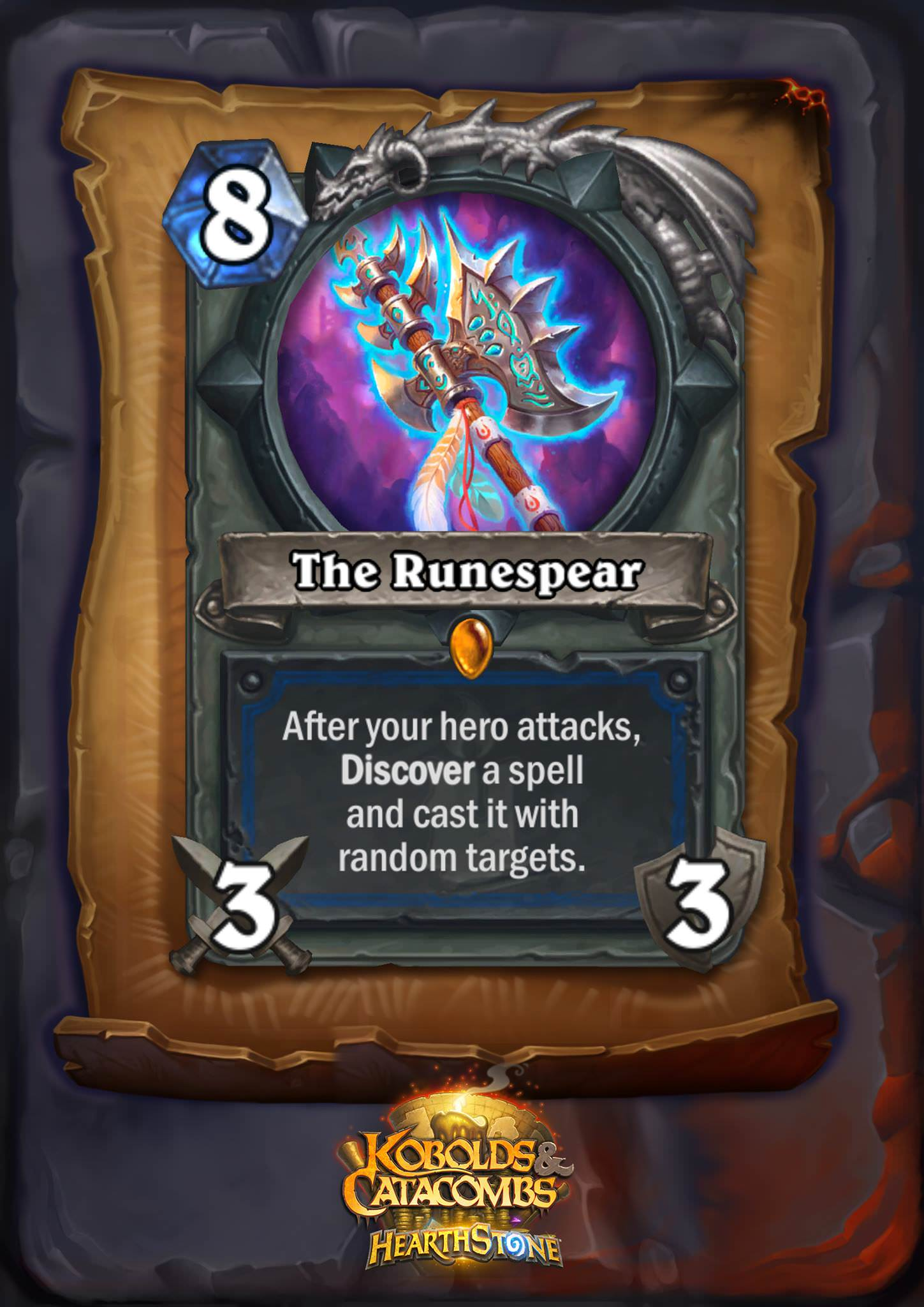 "The Runespear is an eight mana 3/3 weapon. The card text reads: ""After your hero attacks, Discover a spell and cast it with random targets."""