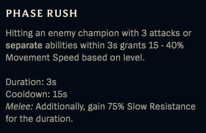 Phase Rush is a utility rune that Riot may want to buff in future patches.
