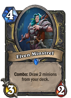 Elven Minstrel is a new Rogue minion, and helps make Tempo Rogue an early standout deck in Hearthstone's Kobolds and Catacombs expansion.