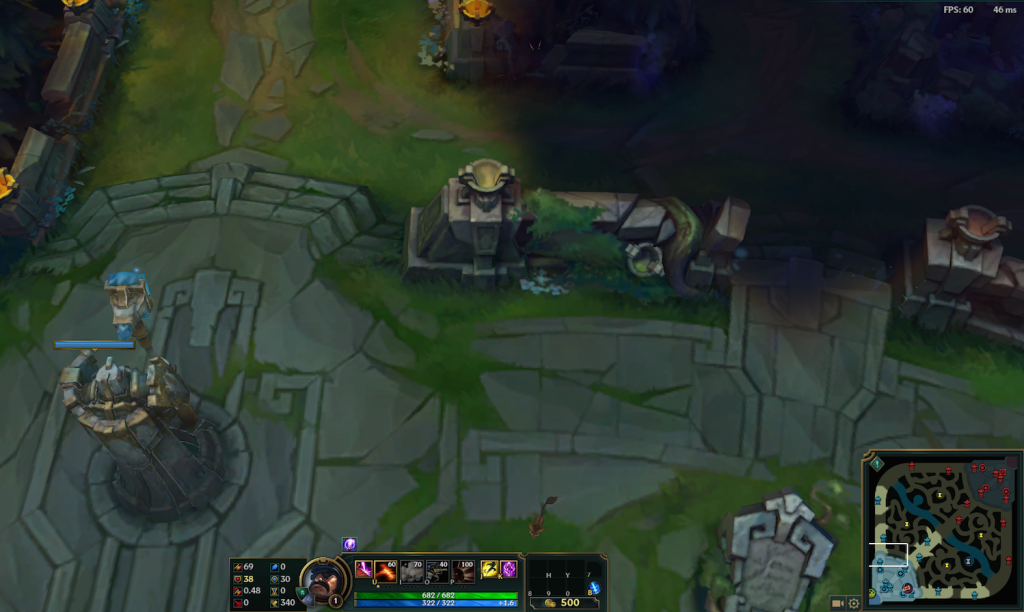 This is what League of Legends defense looks like. Against a Baron push, take advantage of your base gates and flank the other team.