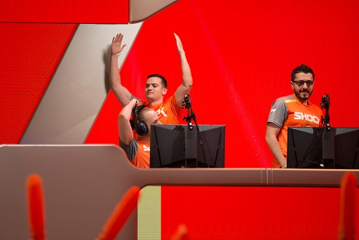 Members of San Francisco Shock getting hyped during one of their preseason matches.