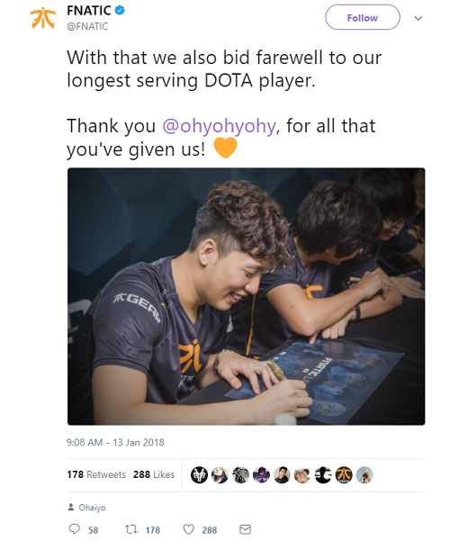 Ohaiyo leaves team FNATIC.